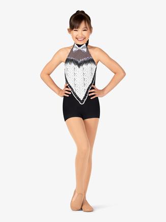 "Girls Performance ""Bell Hop"" Printed Halter Shorty Unitard - Style No N7753C"