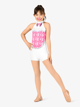"Girls Performance ""Showgirl"" Printed Halter Shorty Unitard - Style No N7754C"