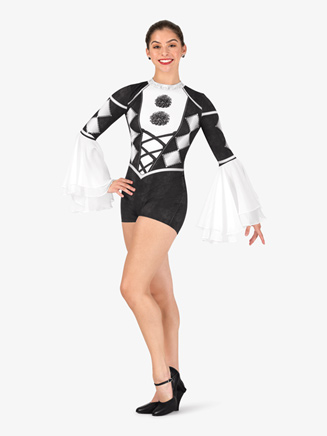 "Girls Performance ""Jester"" Long Sleeve Printed Shorty Unitard - Style No N7759C"