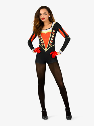 "Womens Performance ""Queen of Hearts"" Long Sleeve Printed Shorty Unitard - Style No N7760"