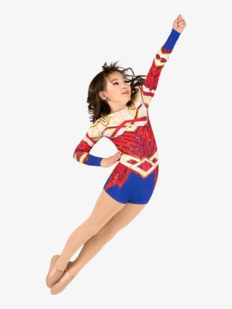 "Girls Performance ""Superhero"" Long Sleeve Printed Shorty Unitard - Style No N7763C"