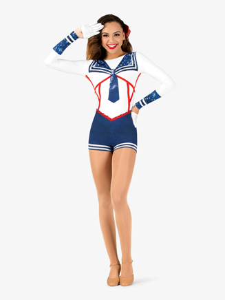 """Womens Performance """"All Aboard"""" Sailor Printed Shorty Unitard - Style No N7764"""