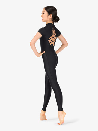 Girls Performance Crisscross Short Sleeve Unitard - Style No N7769C