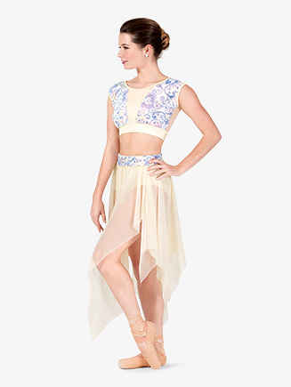 "Womens Performance ""Aria"" Sequin Short Sleeve Crop Top - Style No N7772"