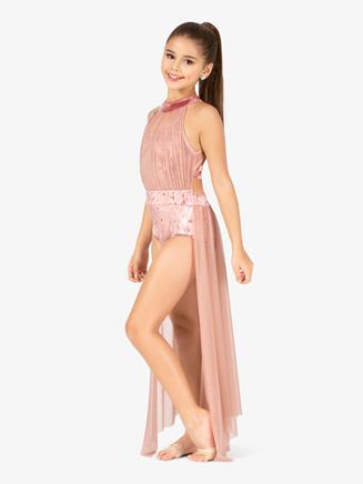 Girls Performance Velvet Open Front Dress - Style No N7786C