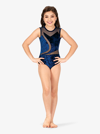 Girls Performance Velvet Spliced Tank Leotard - Style No N7788C
