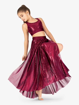Girls Performance Swirl Sequin Side Slit Skirt - Style No N7797C