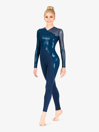 Womens Performance Swirl Sequin Full-Length Unitard - Style No N7800