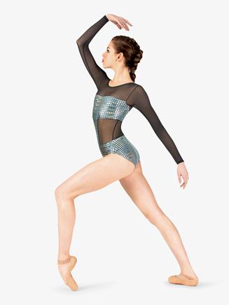 Womens Performance Metallic Long Sleeve Leotard - Style No N7802