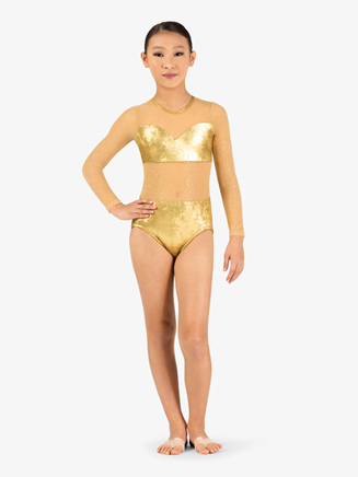 Girls Performance Glitter Long Sleeve Leotard - Style No N7804C