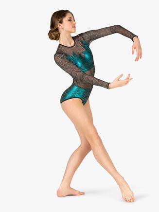 Womens Performance Mesh Panel Long Sleeve Leotard - Style No N7806
