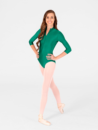 Adult Zip Front 3/4 Sleeve Leotard - Style No N8733