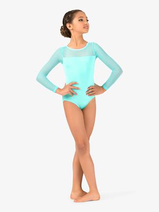 Girls Mesh Yoke Long Sleeve Leotard - Style No N9006C