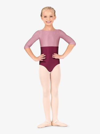 Girls Nylon 3/4 Sleeve Leotard - Style No N9017C