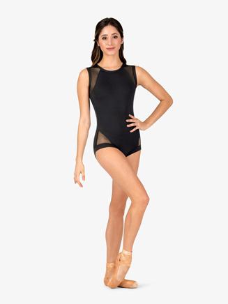 Womens Banded Leg Mesh Tank Compression Leotard - Style No N9073x
