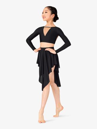 Girls Lyrical Flow Short Asymmetrical Skirt - Style No N9114C
