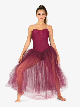Womens Sequin Insert Juliet Camisole Performance Tutu Dress - Style No N9128