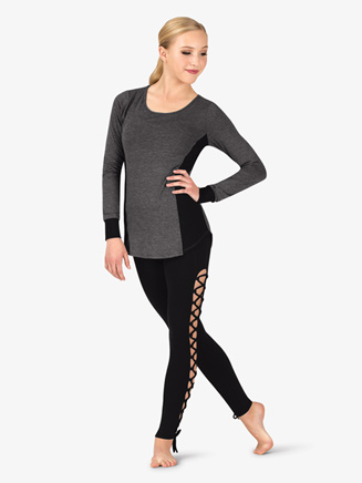Womens Workout Mesh Side Insert Long Sleeve Top - Style No NA154x