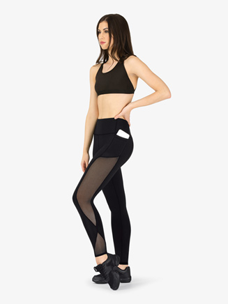 Womens Compression Side Mesh Workout Leggings - Style No NA164