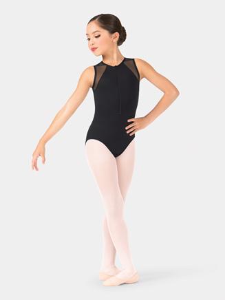 Girls Sleeveless Mesh Insert Front Zipper Leotard - Style No NC8890C