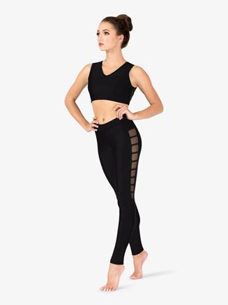 Womens Mesh Binding Side Detail Dance Leggings - Style No NC8914x