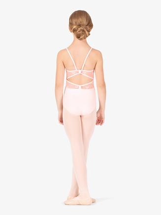 Girls Ribbon Print Mesh Camisole Leotard - Style No NC8933C