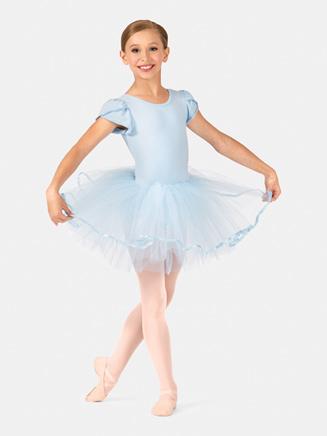 Girls Short Sleeve Satin Hem Tutu Costume Dress - Style No PB2022C