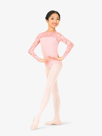 Girls Sequin Lace Long Sleeve Leotard - Style No PB2034Cx