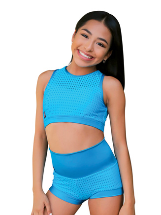 Womens Laser Cut Overlay Dance Crop Top - Style No PS4444