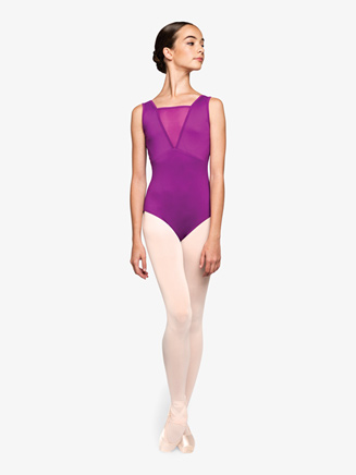 """Womens """"Focused"""" Plunging Mesh Tank Leotard - Style No RPCC003"""