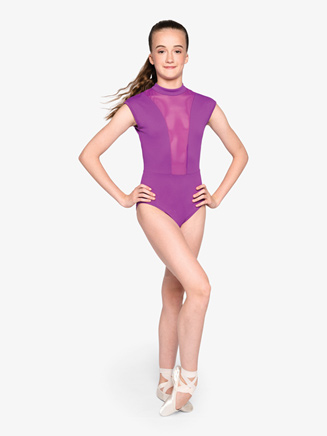 """Womens """"Strong"""" Mesh Open Back Cap Sleeve Leotard - Style No RPFC07"""