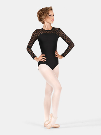 Womens Lace Long Sleeve Compression Leotard - Style No SIL88200
