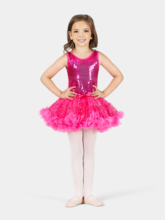 Child Fuchsia Sequin Tutu Dress - Style No SK736M