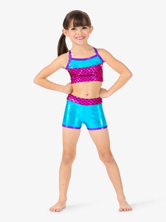 "Girls Metallic ""Mermaid"" Sequins Dance Shorts - Style No ST4826"