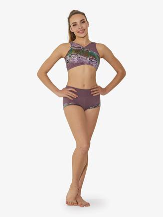 Womens Snakeskin Crisscross Dance Crop Top - Style No ST6660A