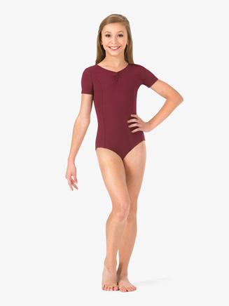 Girls Pinch Front Short Sleeve Leotard - Style No TH5533Cx