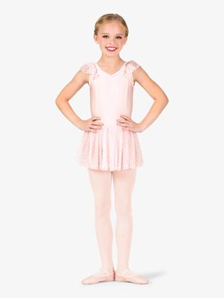 """Girls """"Heart Flock"""" Pinch V-Front Flutter Sleeve Ballet Dress - Style No TH5542Cx"""