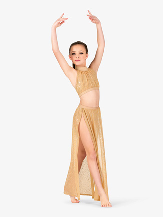 Girls Performance Sheer Twinkle Sequin Mesh Long Skirt - Style No TW311