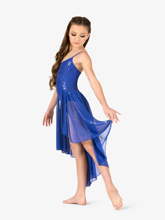 Girls Performance Twinkle Sequin Mesh Asymmetrical Camisole Dress - Style No TW318