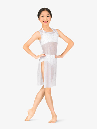 Girls Performance Twinkle Sequin Mesh Sheer Overdress - Style No TW325