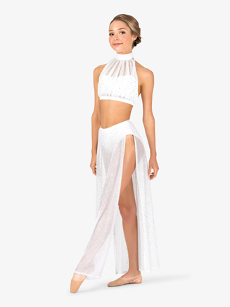 Womens Performance Sheer Twinkle Sequin Mesh Long Skirt - Style No TW611