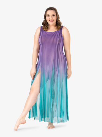 Adult Plus Size Floor-Length Paneled Mesh Dress - Style No WC232P