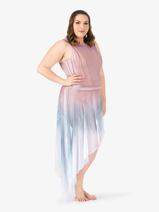 Adult Plus Painted Asymmetrical Side Drape Tank Dress - Style No WC233P