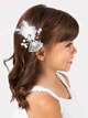 Gem & Feather Mesh Bow Clip - Style No D2367
