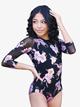 "Womens ""Hana"" Floral Print Three-Quarter Sleeve Leotard - Style No HH9090"